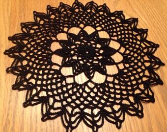 Small Spiderweb Doily, black doily