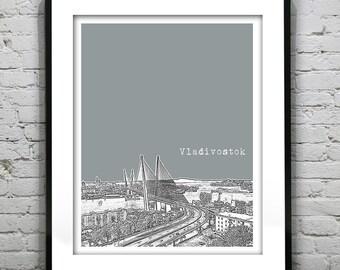 Vladivostok Russia City Skyline Poster Art Print Version 1