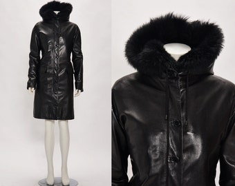 SALE helmut lang black leather coat vintage 1990s • Revival Vintage Boutique