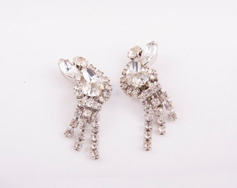 rhinestone crescent + tendril earrings vintage 1950s  • Revival Vintage Boutique