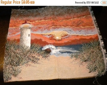Lighthouse Tapestry, Tapestry Fabric of Lighthouse, Scenic Lighthouse at Sunset