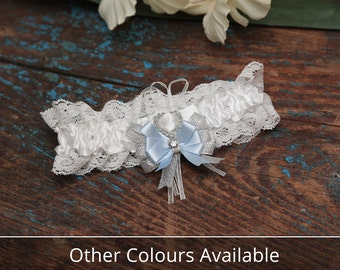 Brides Wedding Garter - With Hand Made Bow - Silver & Blue Wedding Garter (All Colours Available)