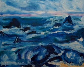 Original Art Print. Ocean Rocky Shore Wave Original oil painting by BrandanC