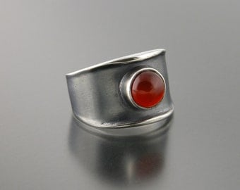 Small Thickened Edge Sterling  Silver Carnelian Ring
