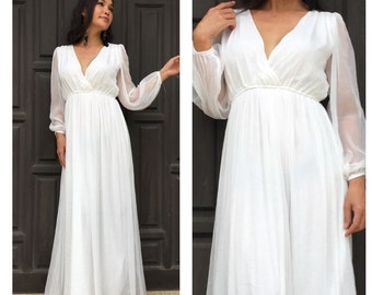 Maxi dress long sleeve chiffon wedding