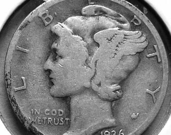 1936 S Mercury Dime Silver  #2694, Hard to Find Coin