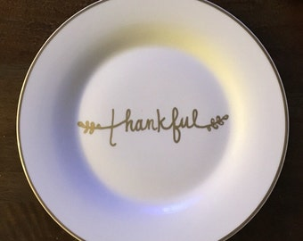 "Anthropologie inspired ""Thankful"" plate"