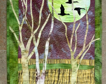 Hand painted fabric art quilt, wallhanging  - Night Flight -  fiber art