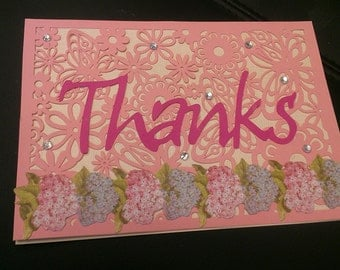 Thank You Card Pink, Purple Flowers