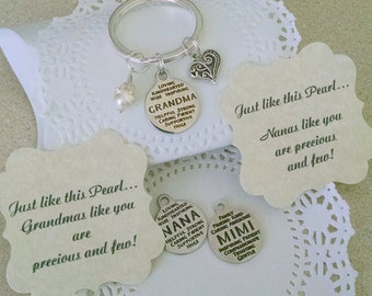 Grandmother Gift, Nana Gift, Gift for Grandma, Pearl Key Chain, New Grandma, Nana, Mimi, Grandma