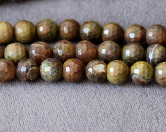 full strand 48pcs round faceted 8mm natur dragon fire agate Gemstone Beads B13