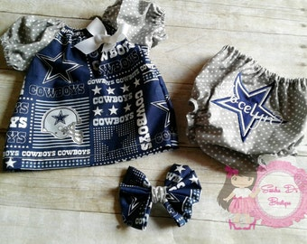 Dallas Cowboys peasant dress/top with bloomers
