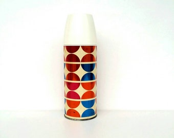 Vintage  English VAX thermos,  retro thermos, colourful thermos