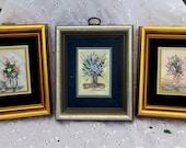 Vintage Miniature Oil Paintings, Flower Bouquet Vintage Paintings, Mini Oil Paintings, Frank Irwin Mini Oi