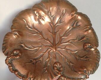 Vintage copper leaf shaped dish