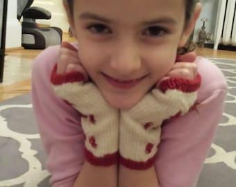 cranberry fingerless gloves