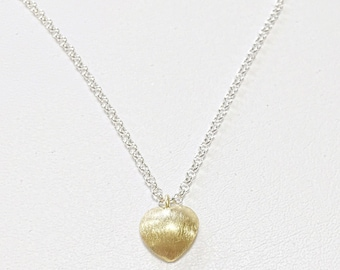Gold Vermeil Brushed Heart Necklace