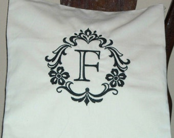 Pillow Cover- Damask Initial F Pillow Cover-Cotton Pillow Cover- Monogram Pillow Cover
