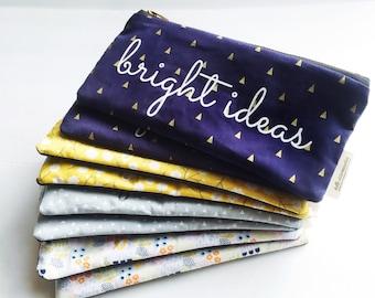 Bright Ideas Navy Blue & Gold Triangle Zipper Pouch