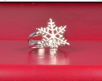 ON SALE Snowflake Ring, Sterling Silver Snowflake Ring, Silver Snowflake Ring, Snowflake Jewelry