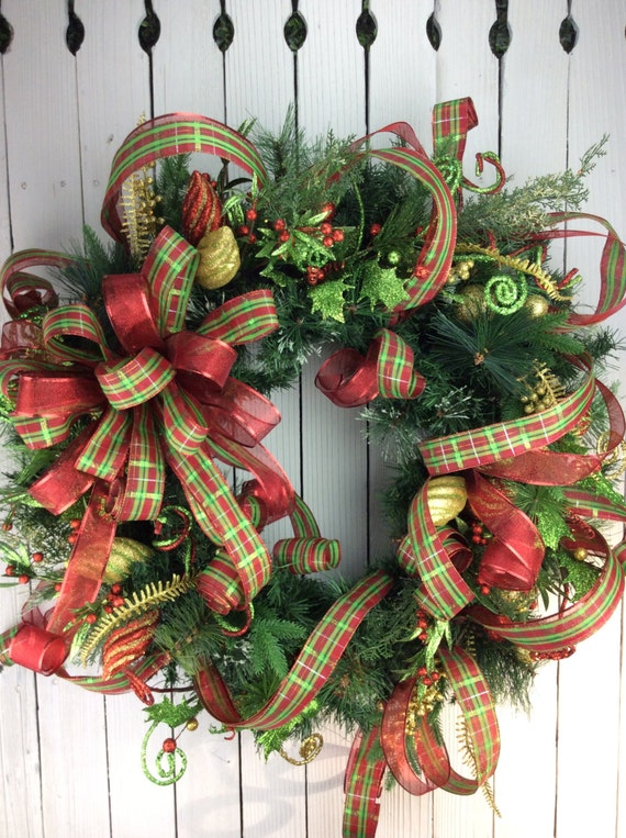 Christmas wreaths christmas wreathtraditional christmas by for How to make christmas door wreaths