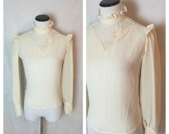 Vintage Ivory Ruffle Blouse/70's blouse XS