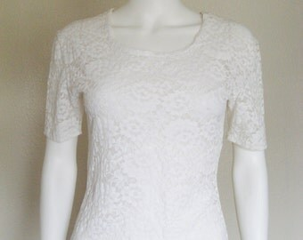 80s 90s semi sheer White Lace Top - medium