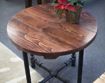 Round Industrial End Table | End Table With Black Metal Pipe Legs | Rustic  End Table