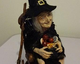 SHADOWSCULPT HALLOWEEN WITCH ooak fairy goth horror art doll sculpture prop figurine