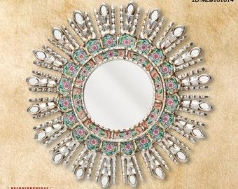 silver decorative mirrors 177 mirror cuzco style turquoise sunburst ii home - Small Decorative Mirrors