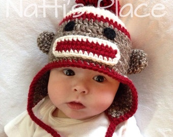 Sock Monkey Hat, crochet sock monkey hat, crochet monkey hat, crochet sock monkey, sock monkey, newborn-adult, made to order