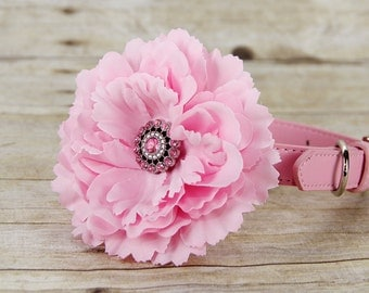 Silk Peony Dog Collar Flower, Dog Collar Accessory, (Collar not included), Collar Attachment, Pink Flower, Dog Accessory