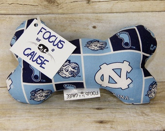 North Carolina Tar Heels Dog Toy, Squeaky Toy, Soft Dog Toy, Sports, Focus for a Cause
