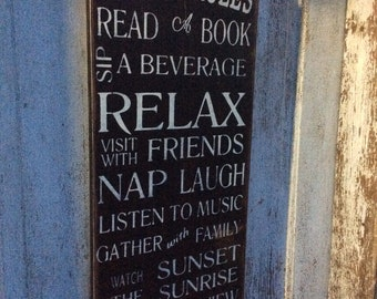 Patio rules sign, rustic style, customizable. Shabby chic, vintage style word art.