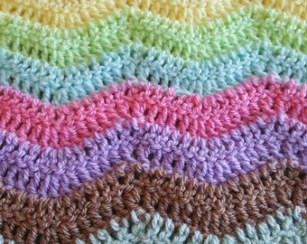 """Handmade crochet Snuggle Blanket, Cot Throw in Pastel colours 35 x 35"""""""" Wave design"""