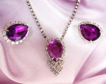 Vintage Rhinestone Ear and Neck Purple