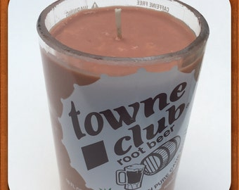 Soy candle using a recycled Towne Club Rootbeer pop bottle