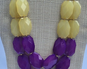 LSU Game Day Necklace - LSU necklace - Purple and Yellow Statement Necklace -Purple Yellow Necklace - GameDay Necklace - Purple Necklace