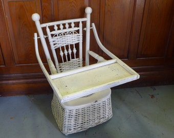 Wicker potty chair with tray
