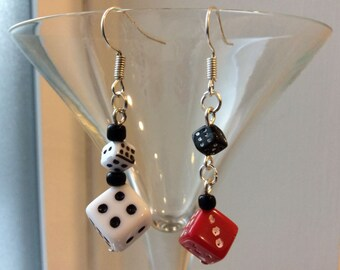 White Red Black Dice Earrings (two beads) bunco bunko