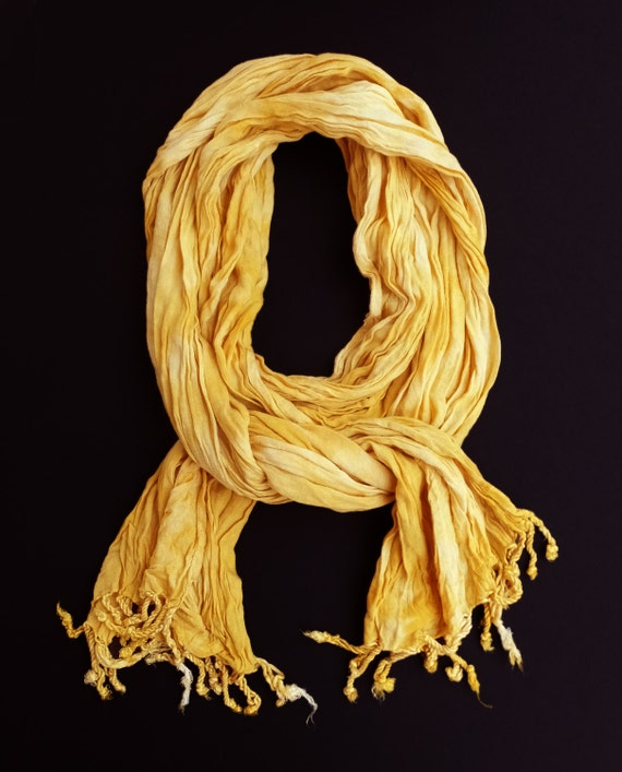 """Yellow scarf - rayon scarf - crinkle scarf - fall scarf - fringe scarf - golden yellow, yellow, pale yellow - hand dyed - 20""""x70"""""""