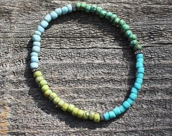 Stretch Seed Bead Bracelet, Yoga Bracelet,  Aqua Blue Green Picasso Beads Stackable Tresors Beaded Stretch Stack Bracelet