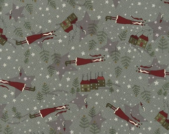 RJR Winter Village Lynette Anderson Gray Old World Santa Stars Fabric 2330-003 BTY