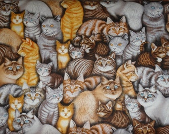 RJR Cats Cat Kitty All Over Orange Grey Tan Tabby Fabric 2 yards