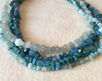 Blue Multi Strand Statement Necklace, one of a kind