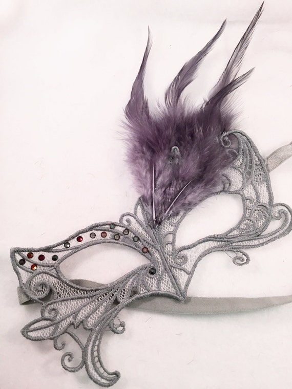 Mask 50 Shades of Grey! Lace feather crystal mask masquerade ball dance mardi gras SALE PRICE for holiday