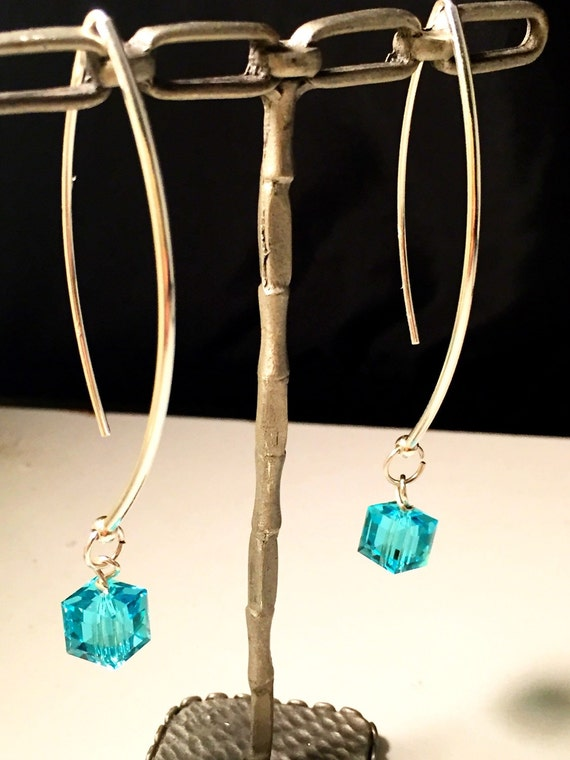 Swarovski Crystal cube ear wires dangle hoops