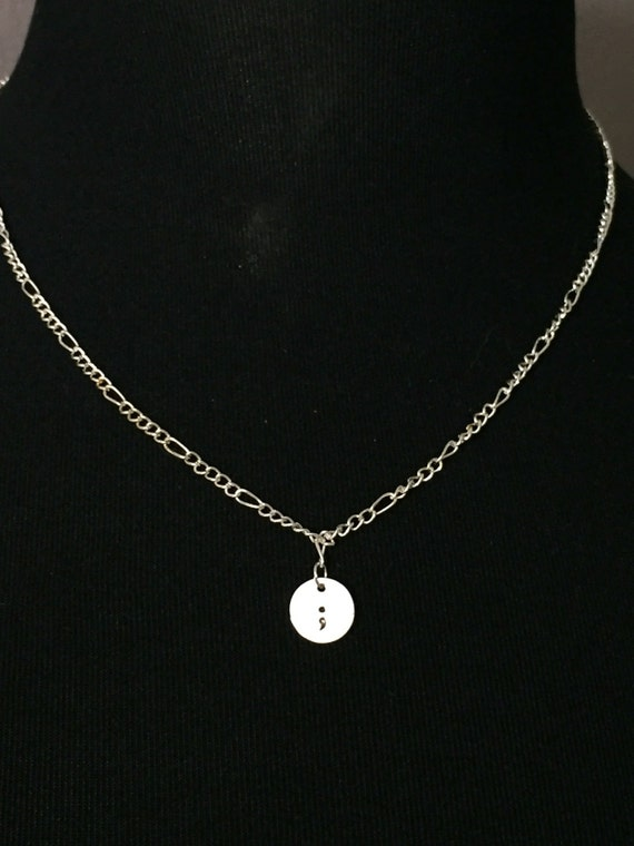 Silver Gold Semi colon stamped charm necklace, % to charity