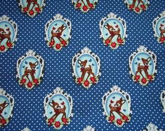 Cotton fabric Deer Love blue