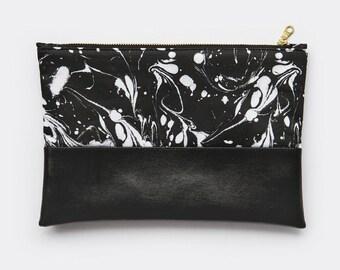 Organic Marbled Black & White Vegan Leather Clutch